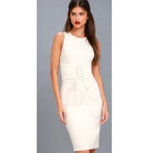 Lulus White Midi Corset dress